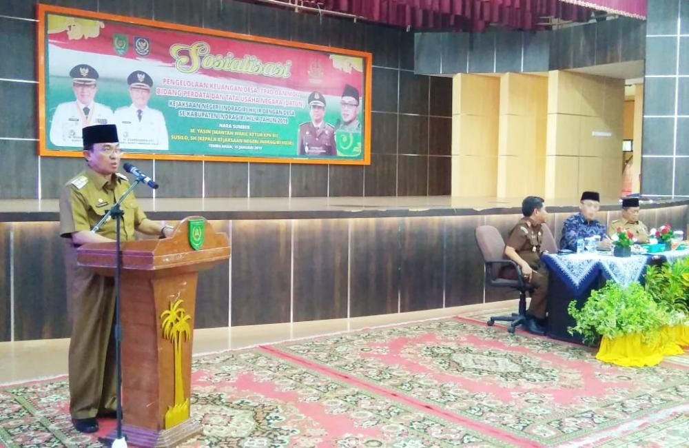 Bupati Inhil Resmi Buka Sosialisasi Pengelolaan Keuangan Desa, TP4D Serta MoU Bidang Datun