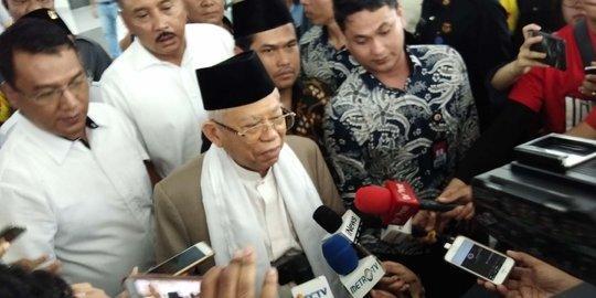 Usai Jenguk, Ma'ruf Amin Ajak Masyarakat Doakan Kesembuhan Ustaz Arifin Ilham