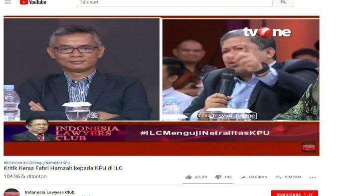 Dengan Nada Tinggi dan Muka Memerah Fahri Hamzah Marahi KPU di ILC: Anda Jawab!