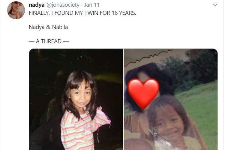 Berkat Media Sosial  Nabila Bisa Bertemu Saudaranya Kembarnya