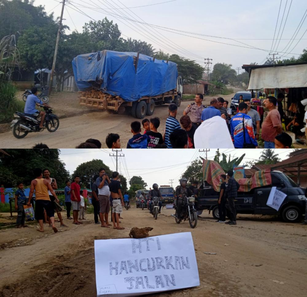 Lakukan Aksi Damai, Masyarakat Hentikan Mobil Angkutan di Jalan Lintas Simpang Pujud - Rohil
