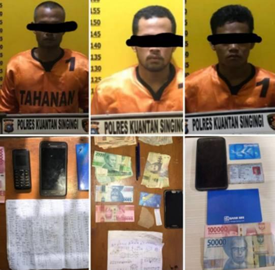 Hitungan Jam, 3 Pelaku Judi Online Berhasil Ditangkap Tim Opsnal Sat Reskrim Polres Kuansing