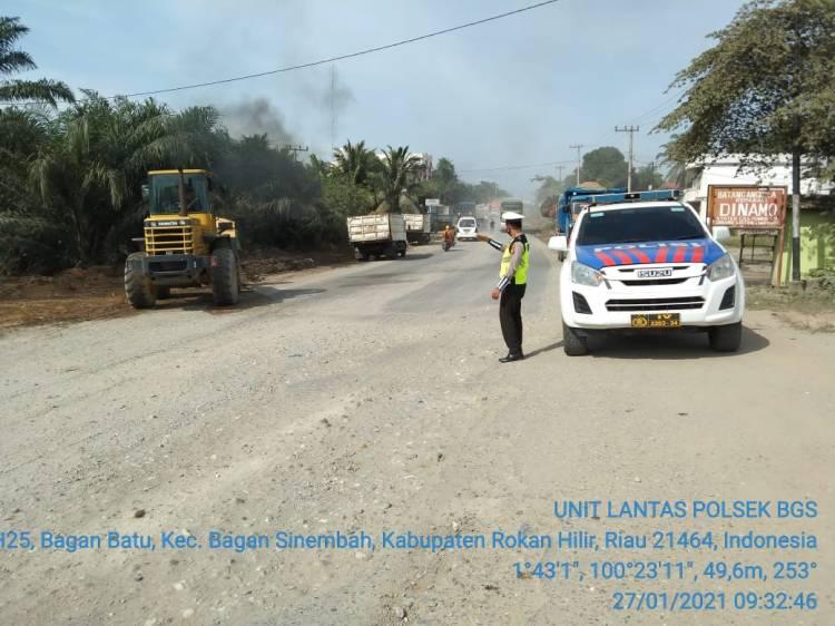Cegah Macet dan Rawan Laka, Unit Lantas Polsek Bagan Sinembah Lakukan Gatur