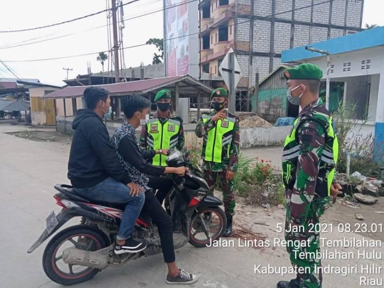 Kodim 0314/Inhil Terlibat Aktif dalam Pengawasan dan Penerapan Disiplin Prokes di Masyarakat