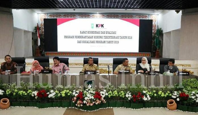 Pemerintah Kabupaten Indragiri Hilir Peringkat Pertama  Rencana Aksi Pemberantasan Korupsi Terintegritas Tahun 2018 Se Propinsi Riau.