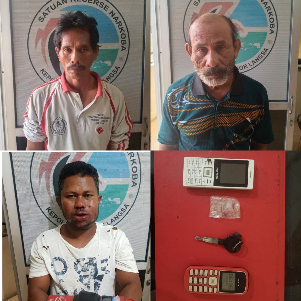 Sat Res Narkoba polres Langsa Ciduk Tiga Pelaku Pemilik Sabu
