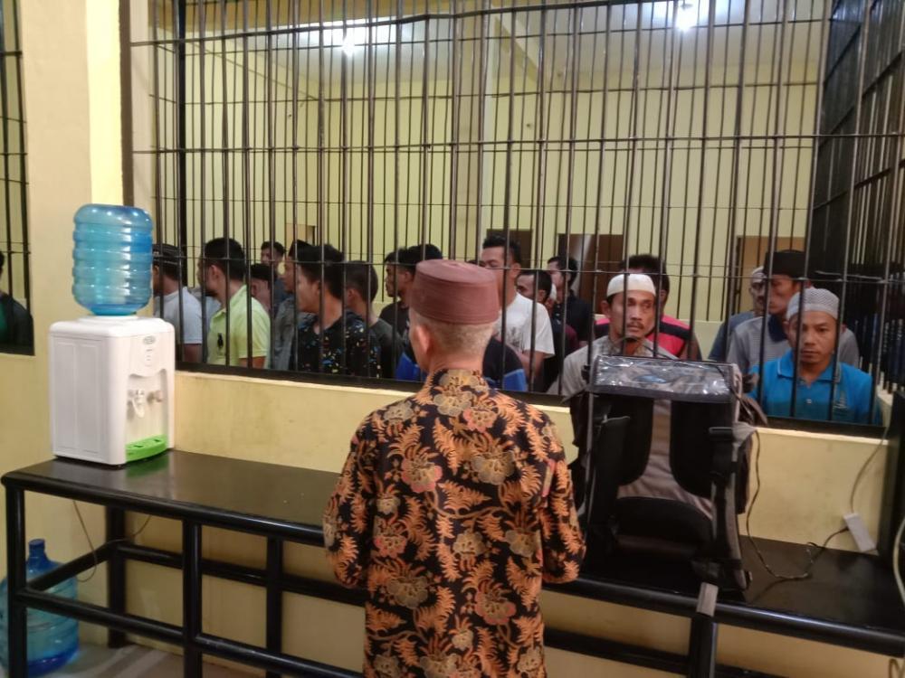 Polres Kampar Adakan Tausyiah Untuk Para Tahanan Muslim di Rutan Mapolres