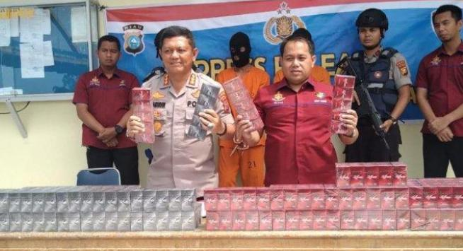 Direktorat Polisi Air(Ditpolair) Polda Riau Berhasil Gagalkan Penyeludupan Puluhan Ribu Bungkus Rokok Ilegal Di Perairan Indragiri Hilir