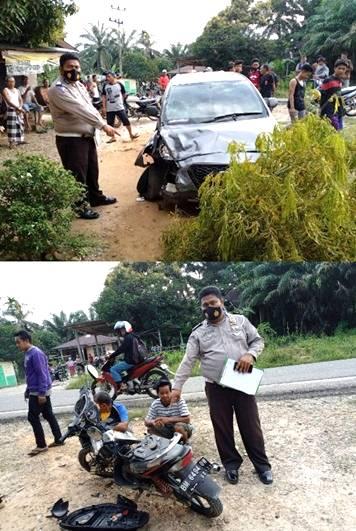 Gegara Pecah Ban, Mobil Datsun Tabrak Pengendara Motor di Batu Langka Kuok