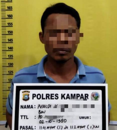 Seorang Pengedar Sabu Ditangkap Resnarkoba Polres Kampar di Wilayah Desa Kampar