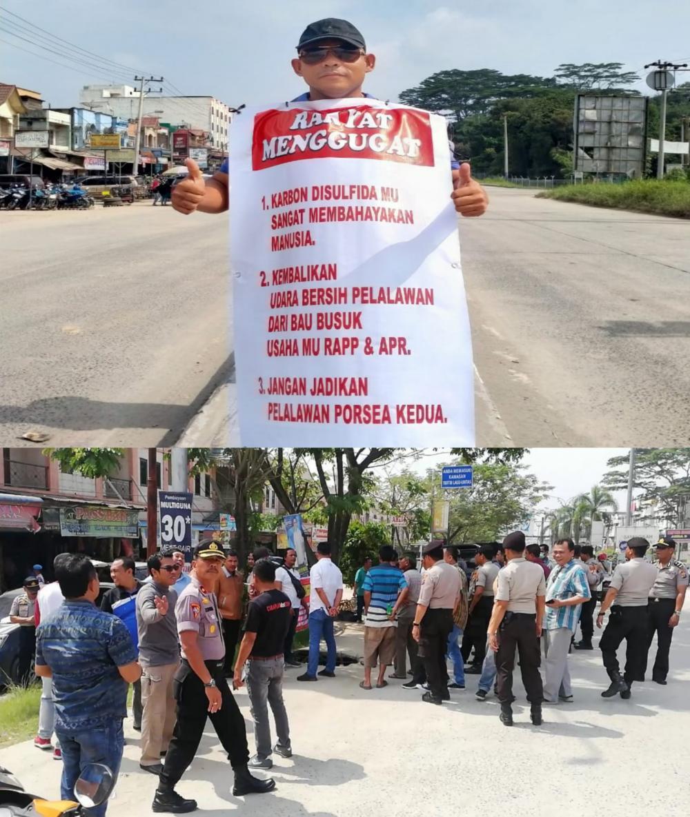 Bau Busuk, Seorang Pria Warga Pangkalan Kerinci Lakukan Aksi Demo Protes PT RAPP