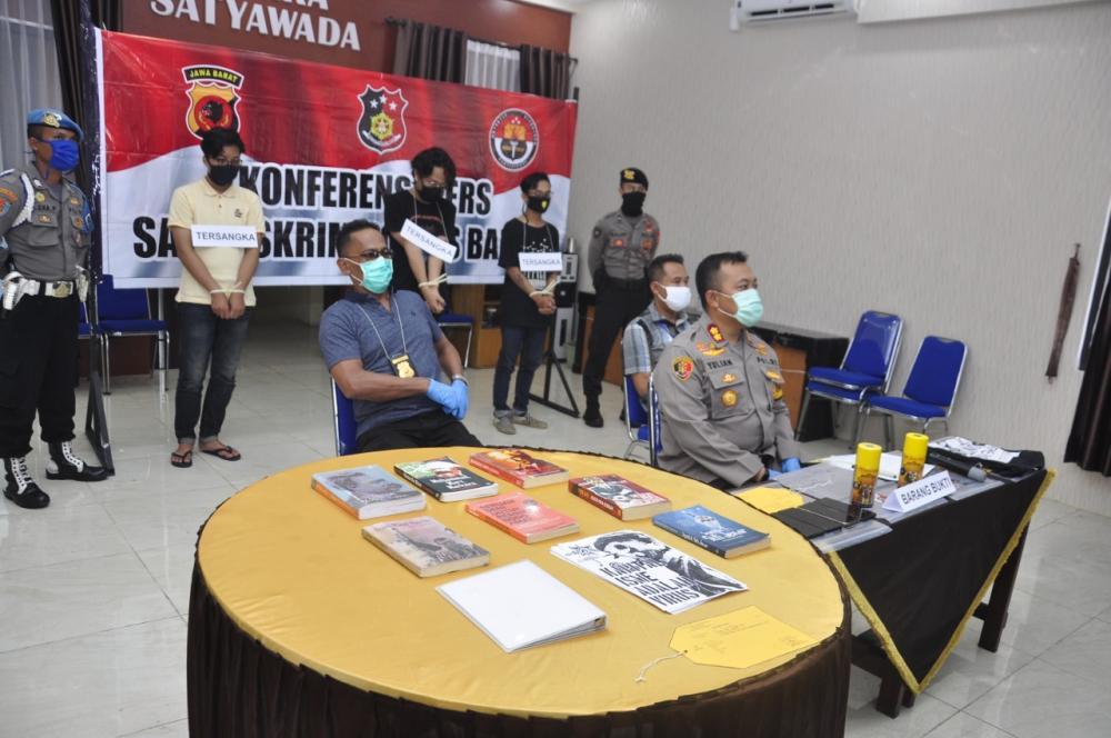 Polres Kota Banjar Ciduk 3 Pemuda Melakukan Vandalisme Ujaran Kebencian