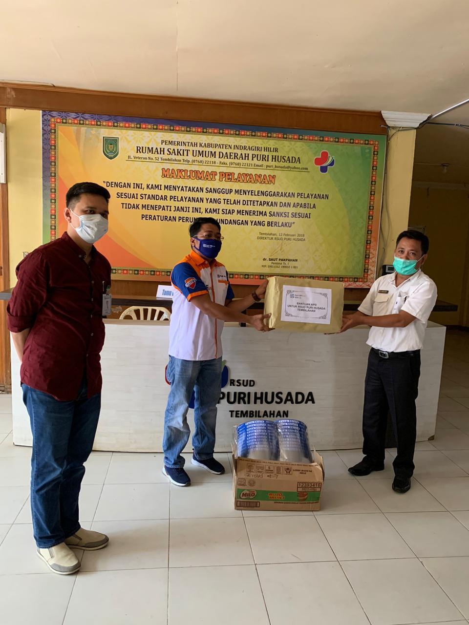 Paguyuban Agen BRILink Inhil Mantap Donasikan APD untuk RSUD dan Puskesmas