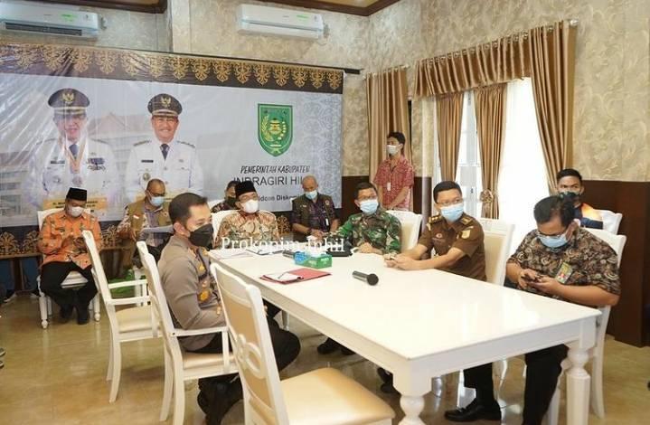Bupati Inhil HM Wardan Rakor Bersama Gubernur Riau Secara Virtual