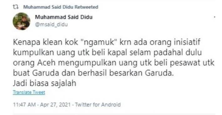 """Terkait Ngajak Donasi Untuk Beli Kapal Selam,Said Didu : """"Kenapa klean kok """"ngamuk"""""""