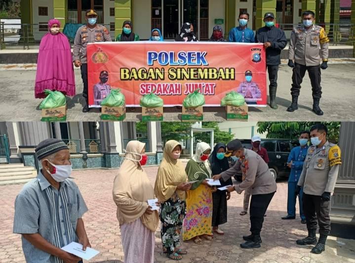Jumat Barokah, Polsek Bagan Sinembah Beri Bantuan Sembako dan Salurkan Zakat Profesi