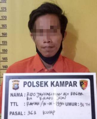 Pelaku Pencurian di Toko Shezan Dunia Anak Desa Ranah Baru Kampar Diringkus Polisi