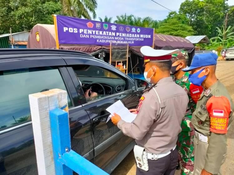 Penyekatan Pra Peniadaan Mudik Perbatasan Riau-Sumut Tetap Rutin Dilakukan