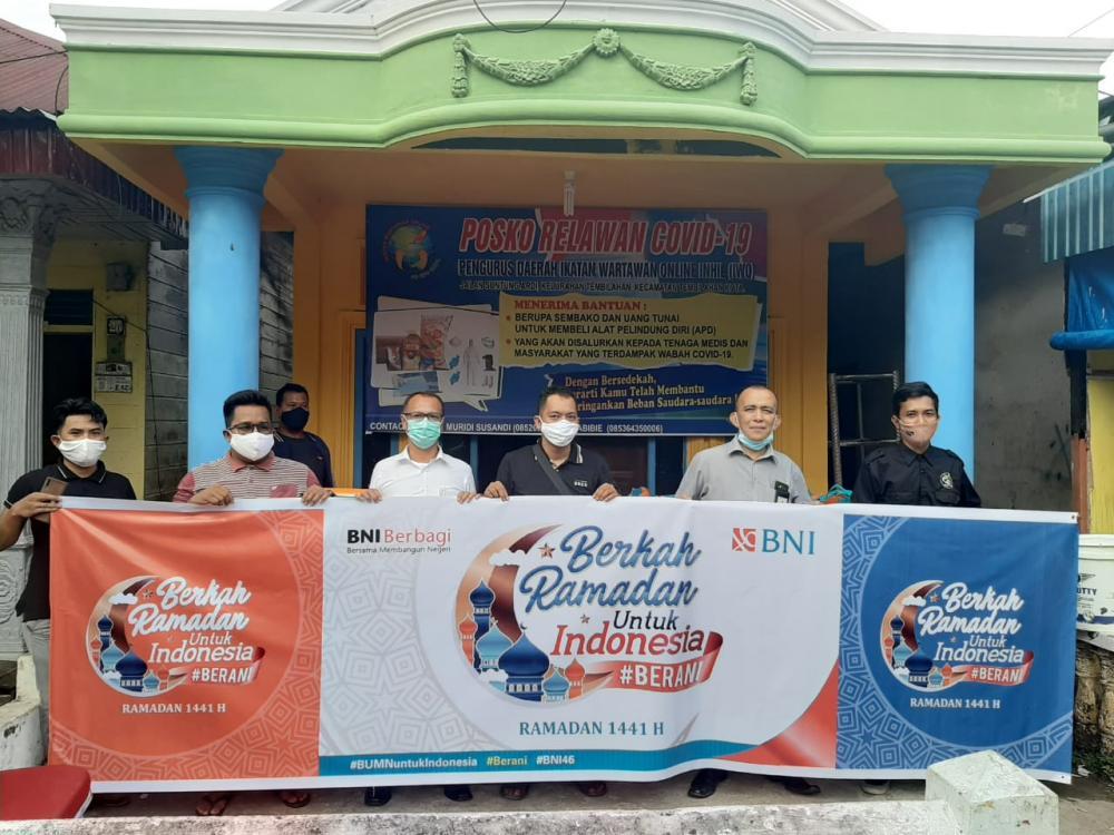 PT Bank BNI Cabang Tembilahan Salurkan Bantuan 100 Paket Sembako Melalui PD IWO Inhil Untuk Disalurkan Pada Masyarakat Yang Membutuhkan