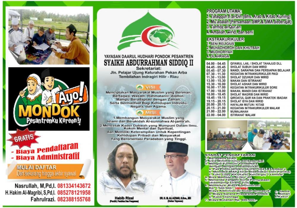 *Yayasan Daarul Hudhari Pondok Pesantren Syekh Abdurahman Sidiq II,Menerima Santri Baru Tahun Ajaran 2020/2021*