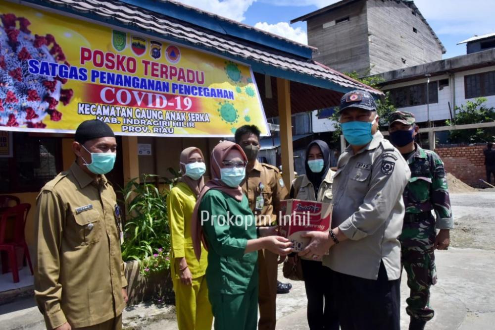 Wabup H.Syamsuddin Uti Pantau Posko Terpadu Satgas Percepatan Penanganan Covid-19 Kec.Gaung Anak Serka.