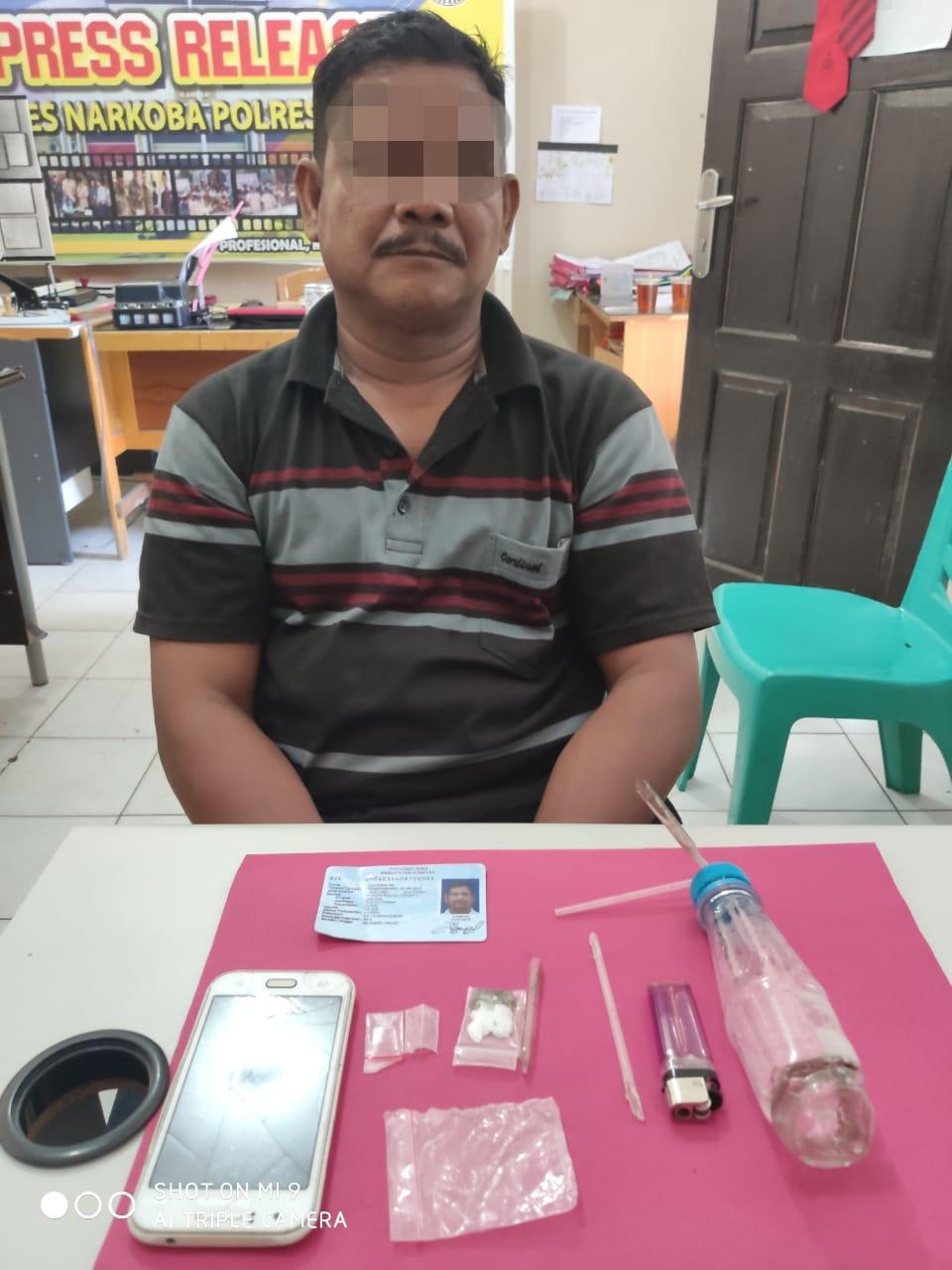 Resnarkoba Polres Kampar Tangkap Seorang Pengedar Shabu dan Daun Ganja Lebaran Hari Ke 2