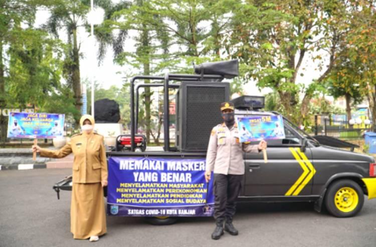 Walikota Banjar dan Kapolres Banjar Kembali Turun ke Jalan Sampaikan Imbauan Prokes