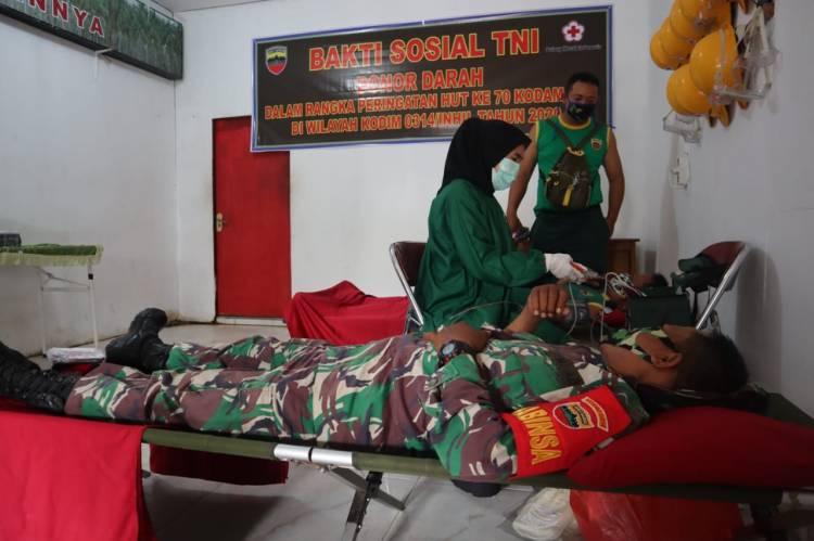 HUT ke 70 Kodam I/Bukit Barisan,  Kodim 0314 Inhil Melaksanakan  Donor Darah