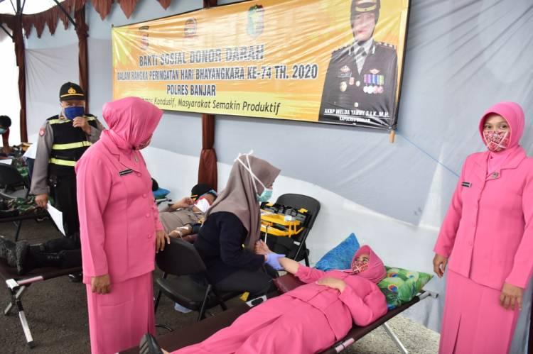 Keluarga Besar Polres Banjar Dalam Rangka Hari Bhayangkara Ke 74 Bakti Sosial Donor Darah