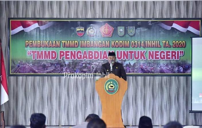 H.Syamsuddin Uti membuka Pelaksanaan TMMD Imbangan Tahun 2020