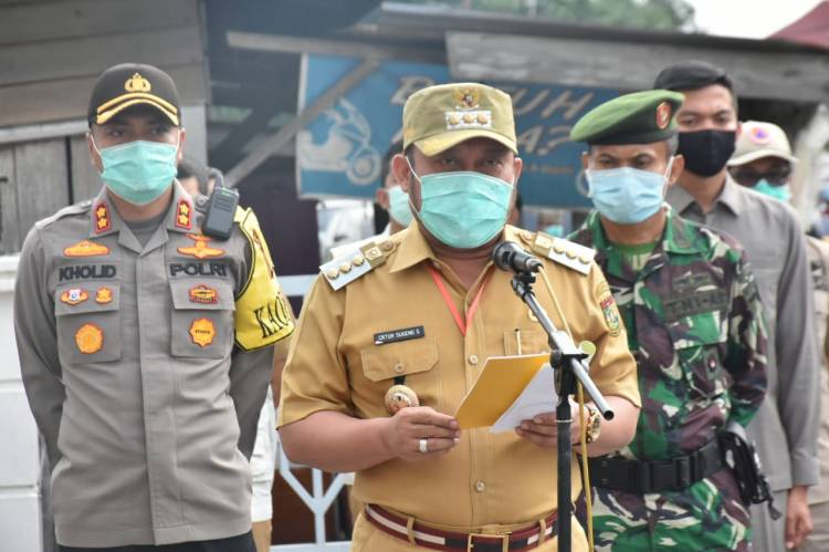 "Apel Siaga Kedisiplinan Dalam rangka penerapan tatanan baru 'New Normal"" penanggulangan Covid-19 Pasar se-Kabupaten Kampar"