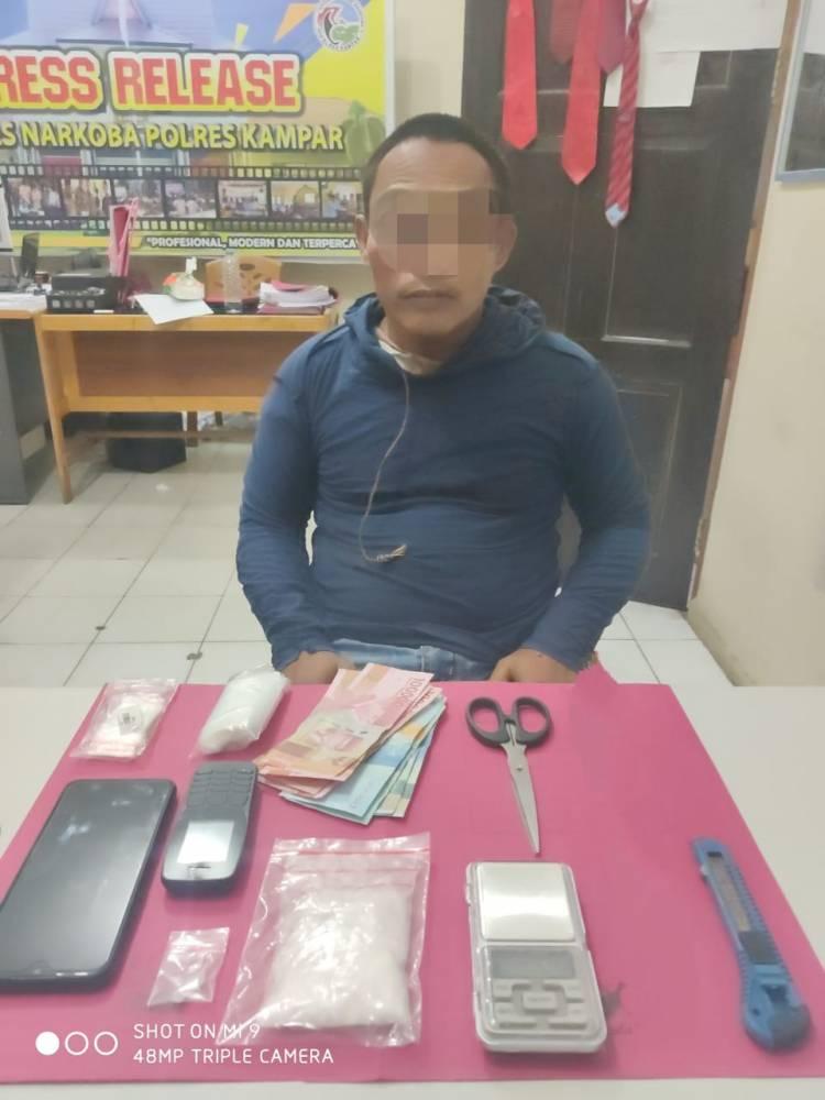 Resnarkoba Polres Kampar ringkus Seorang Residivis Bandar Shabu di Perhentian Raja