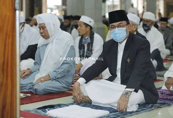 Bupati Inhil HM Wardan Sholat Idul Adha  di Masjid Agung Al-Huda Tembilahan