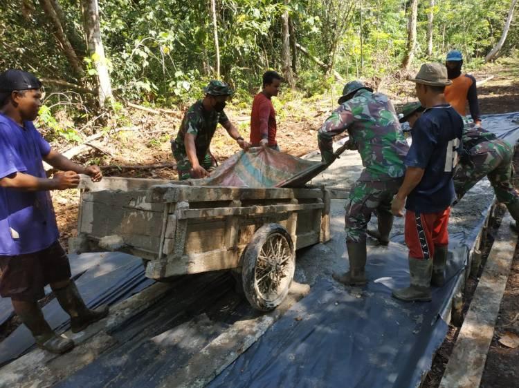 TMMD Ke-108 Tahun 2020 Kodim 0303/Bengkalis Bangun Jalan di TEMIANG