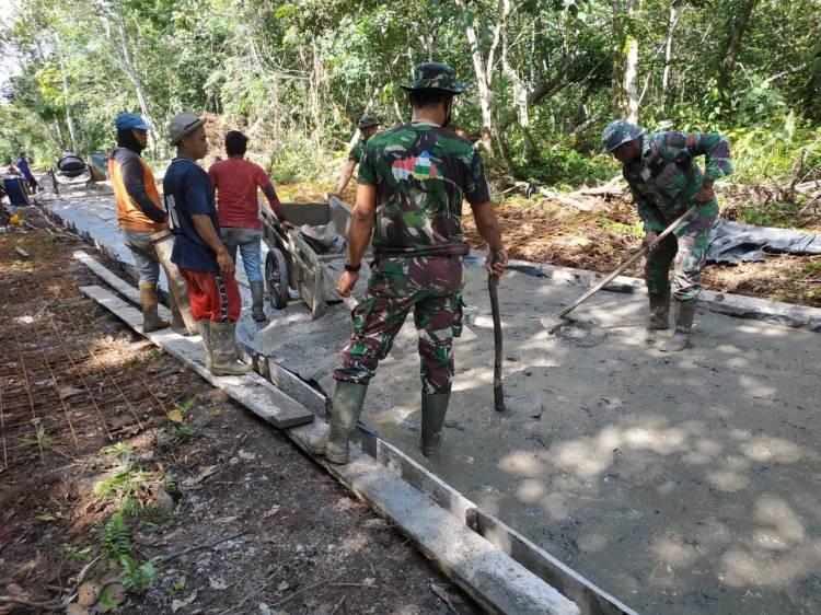 Pelaksanaan TMMD di Desa Tamiang TMMD ke 108 oleh DANSATGAS  Dipimpin Tarman Sugianto