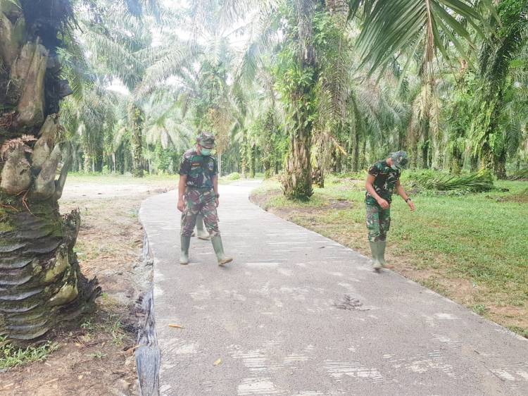Satgas TMMD Cek Jalan Semenisasi Dusun Suka Mulia Jaya yang Sudah Rampung