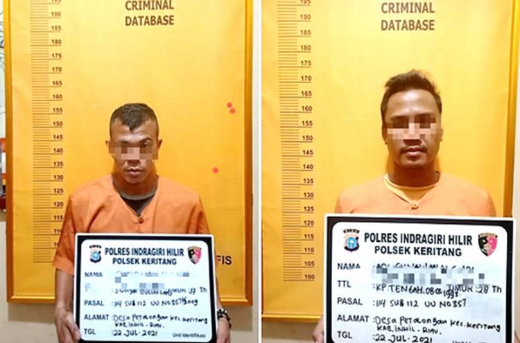 Polsek Keritang Berhasil Ungkap TP Narkotika Jenis Sabu, Dua Terduga Pelaku Diamankan