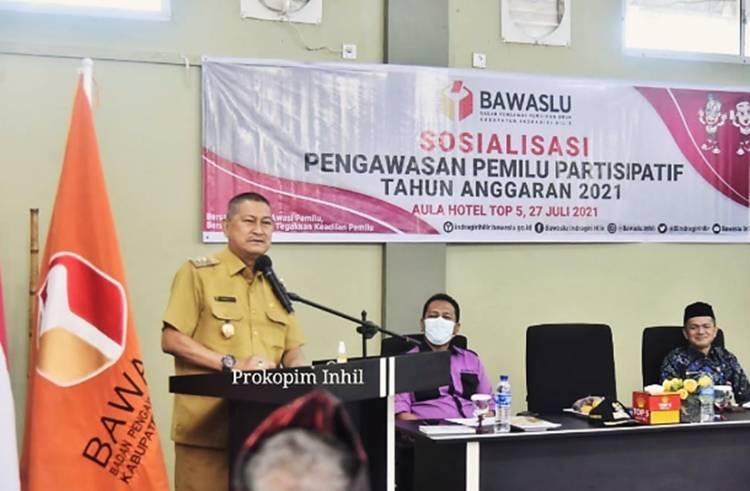Wabup Inhil H. Syamsuddin Uti Membuka Kegiatan Sosialisasi Pengawasan Pemilu Partisipatif