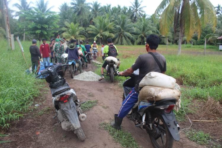 Satgas TMMD Ke 111 Kodim 0314/Inhil Lanjutkan Sasaran Fisik Jalan Penghubung Dua Desa