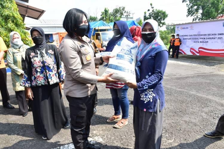 Bersama Walikota, Kapolres Banjar Hadiri Launching Penyaluran Bantuan Beras PPKM Darurat Tahun 2021