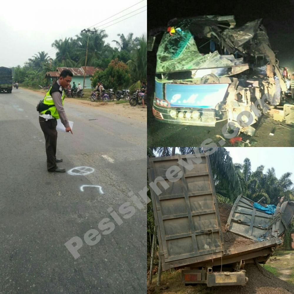 Bus PMH Tabrak Tronton yang Sedang Parkir di Rohil, 3 Meninggal di Tempat dan 1 Meninggal di Rumah Sakit