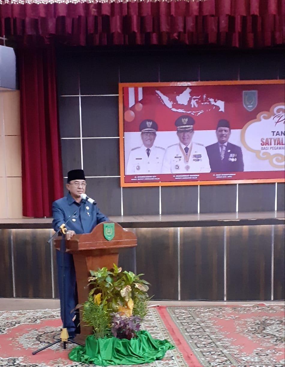 HM Wardan Menyematkan 192 ASN Pemerintah Kabupaten Indrgiri Hilir Menerima Satyalencana Karya Setya Dari Presiden RI