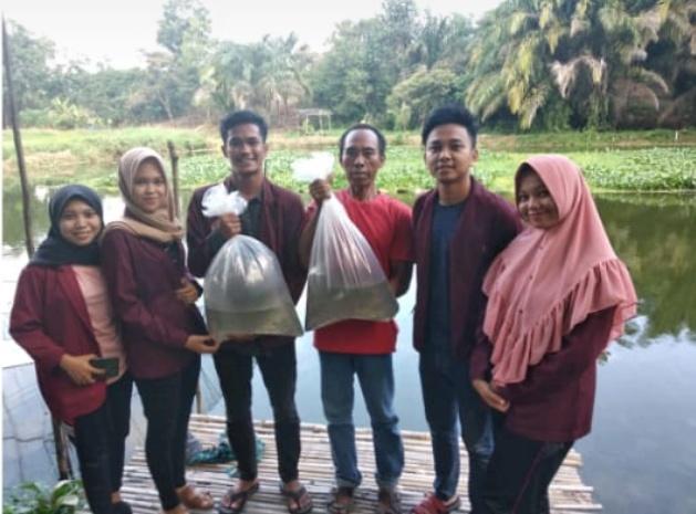 Mahasiswa Kukerta Universitas Abdurrab di Kelurahan Agrowisata Kec.Rumbai, Pekanbaru Bagikan Bibit Ikan