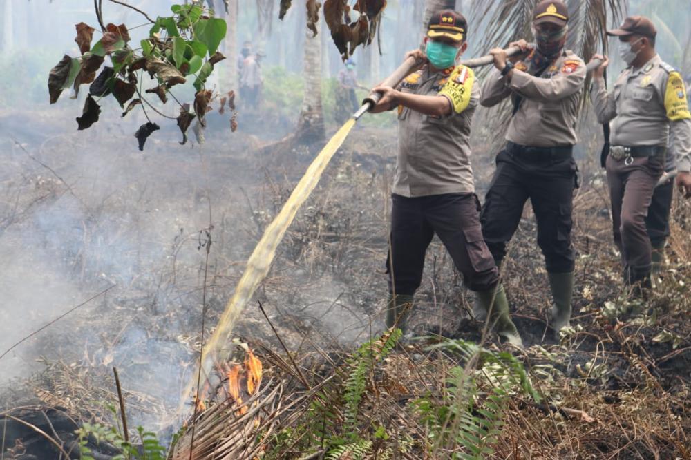Kapolres Inhil Beserta Personil dan Masyarakat Berjibaku Dalam Upaya Memadamkan Api