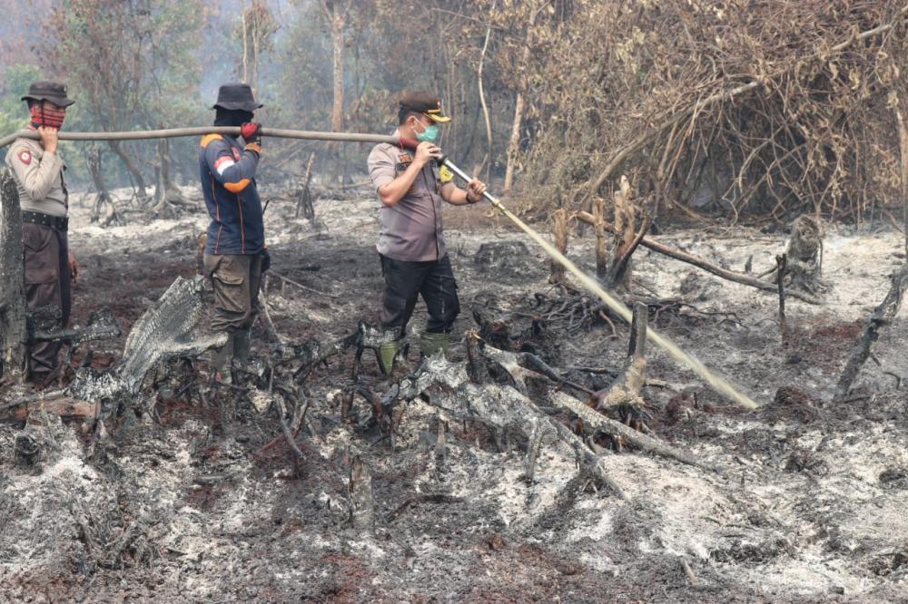 Kapolres Inhil dengan Anggota ,Danramil 05 Gas, BPBD Kab. Inhil Dan Masyarakat Terjun Berupaya Memadamkan Api
