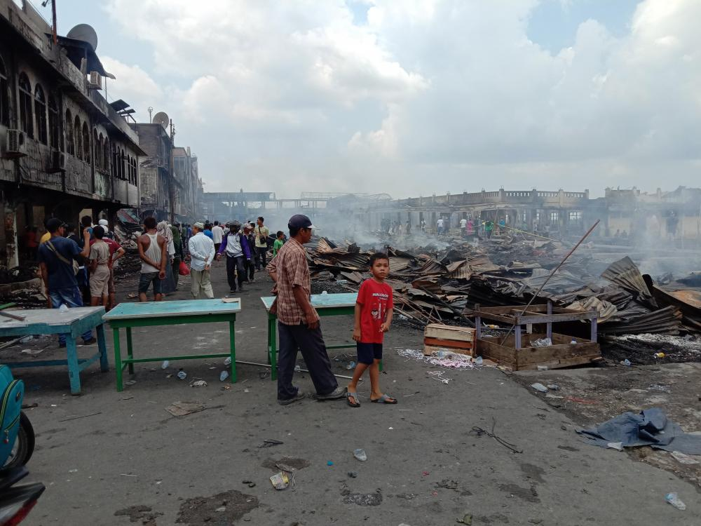 Ini Kronologis Kebakaran yang Menghanguskan Ratusan Kios Pedagang Yos Sudarso Tembilahan Versi Polisi