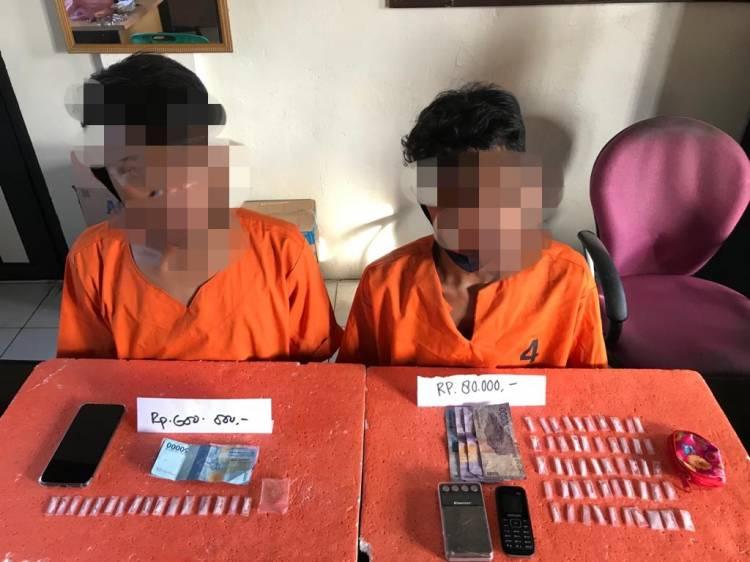Di HUT RI Yang Ke 75 Polres Inhil Ciduk 2 Pelaku Terduga Tindak Pidana Narkotika Jenis Shabu