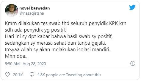 Penyidik Senior KPK Novel Baswedan Dinyatakan positif Covid-19