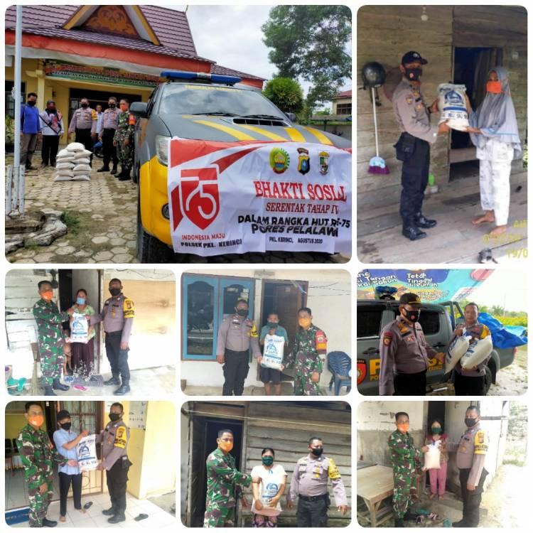 Dalam Rangka HUT RI ke - 75, Polsek Pangkalan Kerinci Lakukan Bhakti Sosial di Wilayah Hukumnya