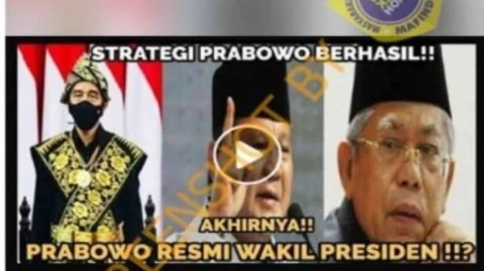 Strategi Berhasil, Prabowo Jadi Wakil Presiden, Cek Faktanya